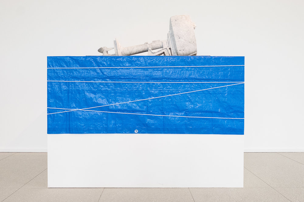 Oilstone 01: Transparent     2015 Bianco carrara, stainless steel, motor oil, plinth, tarp, rope 100 x 38 x 42 cm