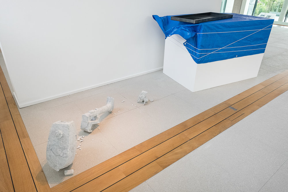 Oilstone 02: Transcendent   2015 Bianca Carrara, stainless steel tray, motor oil, tarp, rope Dimensions variable