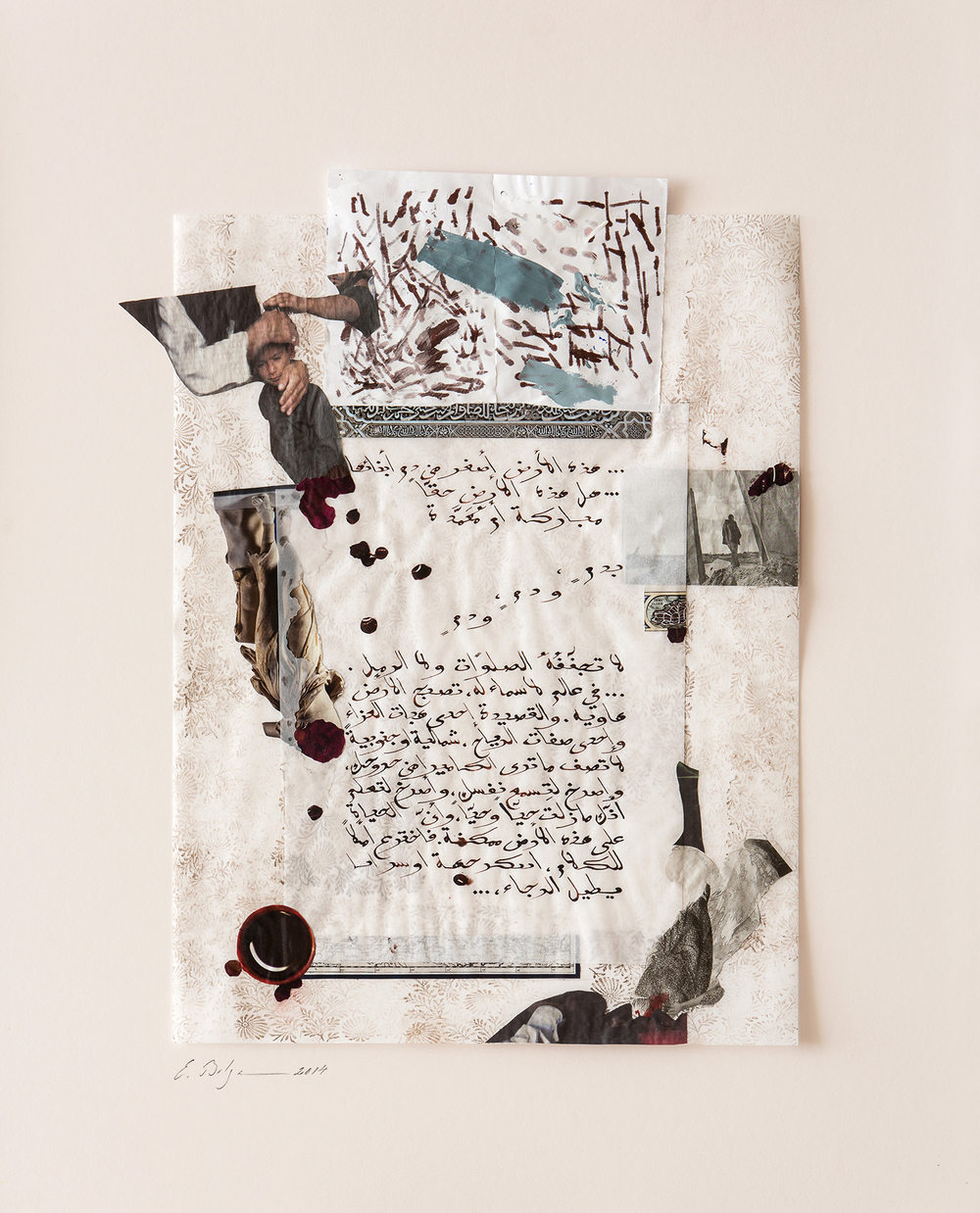 Shattered Dreams   Private Collection London, United Kingdom  Paper, Iranian ink, gesso and tempera on hand stamped paper 2014
