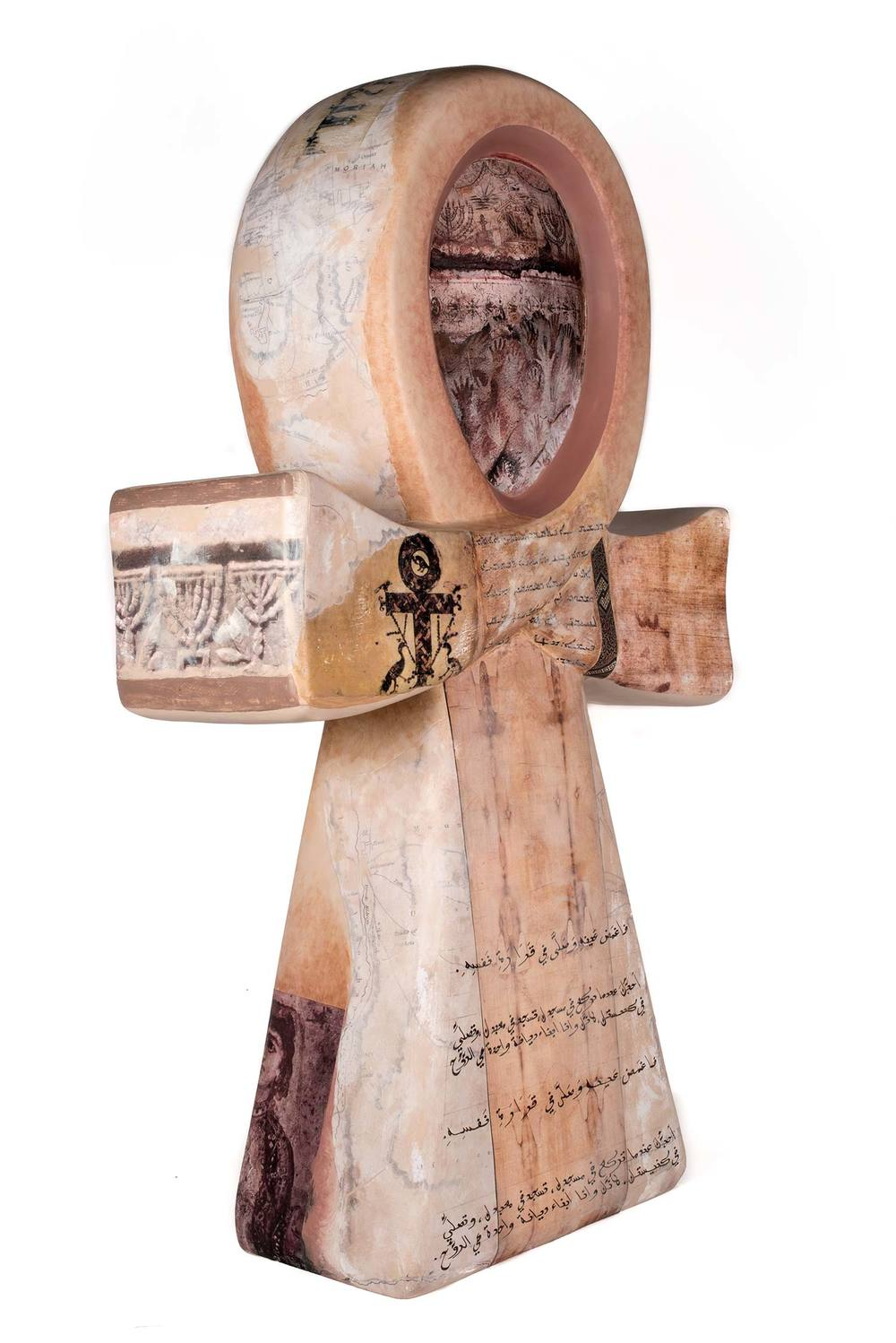 Syncretic Ankh   Acrylics, pigments, gesso, paper, ink pen and pencil on fiberglass base with matt acrylic wax varnish finish. width 47 x height 112.5 x depth 23.5 cm 2016