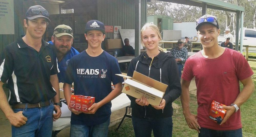 Sponsor Craig Bottom from Cooma Cranes with Junior shooters Oscar Mower, Holly Gschwend and Sam Tomasi