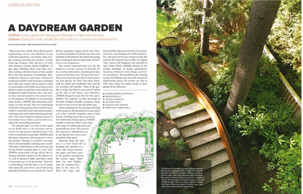 Sustainable Urban Villa Landscape Design Featured in Garden Design's Spring 2015 Issue - May 22, 2015