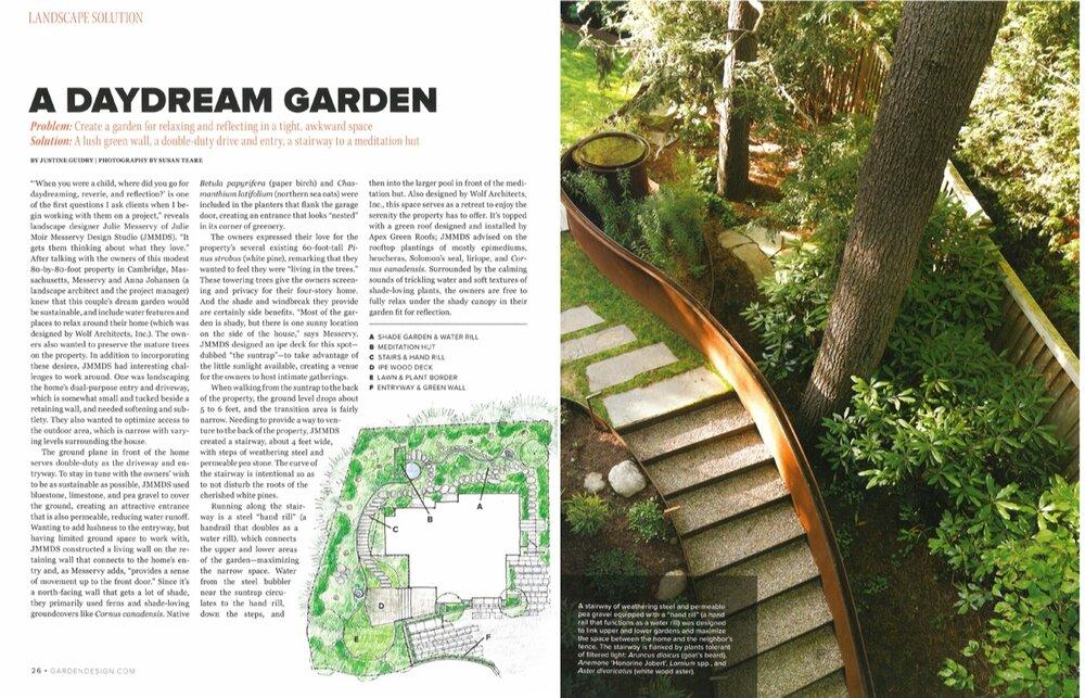 Sustainable Urban Villa Landscape Design Featured in Garden Design's Spring 2015 Issue - May 22, 2015