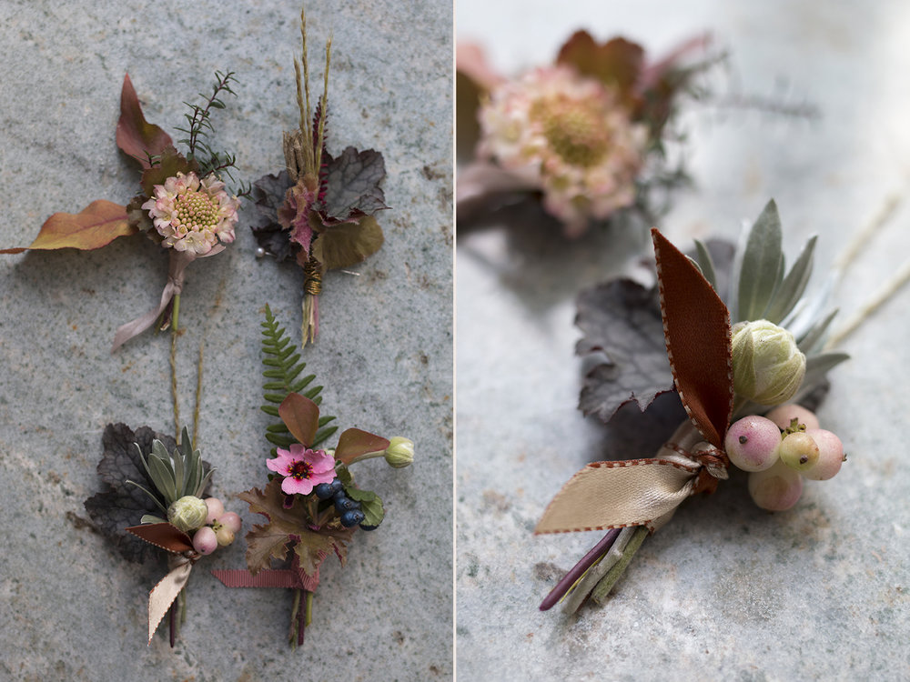 Autumnal wedding buttonholes | Photo by Aesme Flowers