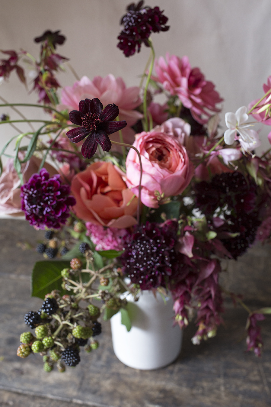 Good enough to eat: blackberries, 'Summer Fruits' scabious and velvety chocolate cosmos
