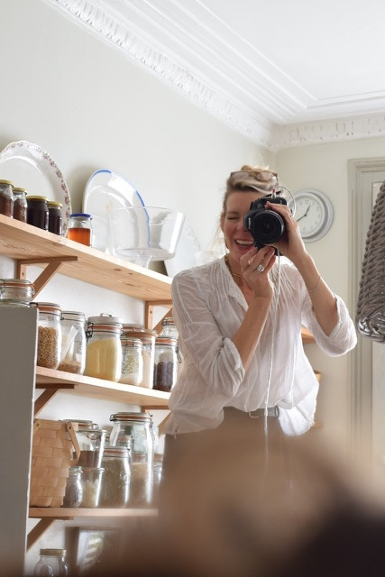 Guest-teacher Kristin Perers in her kitchen at the Vicarage in Hackney.