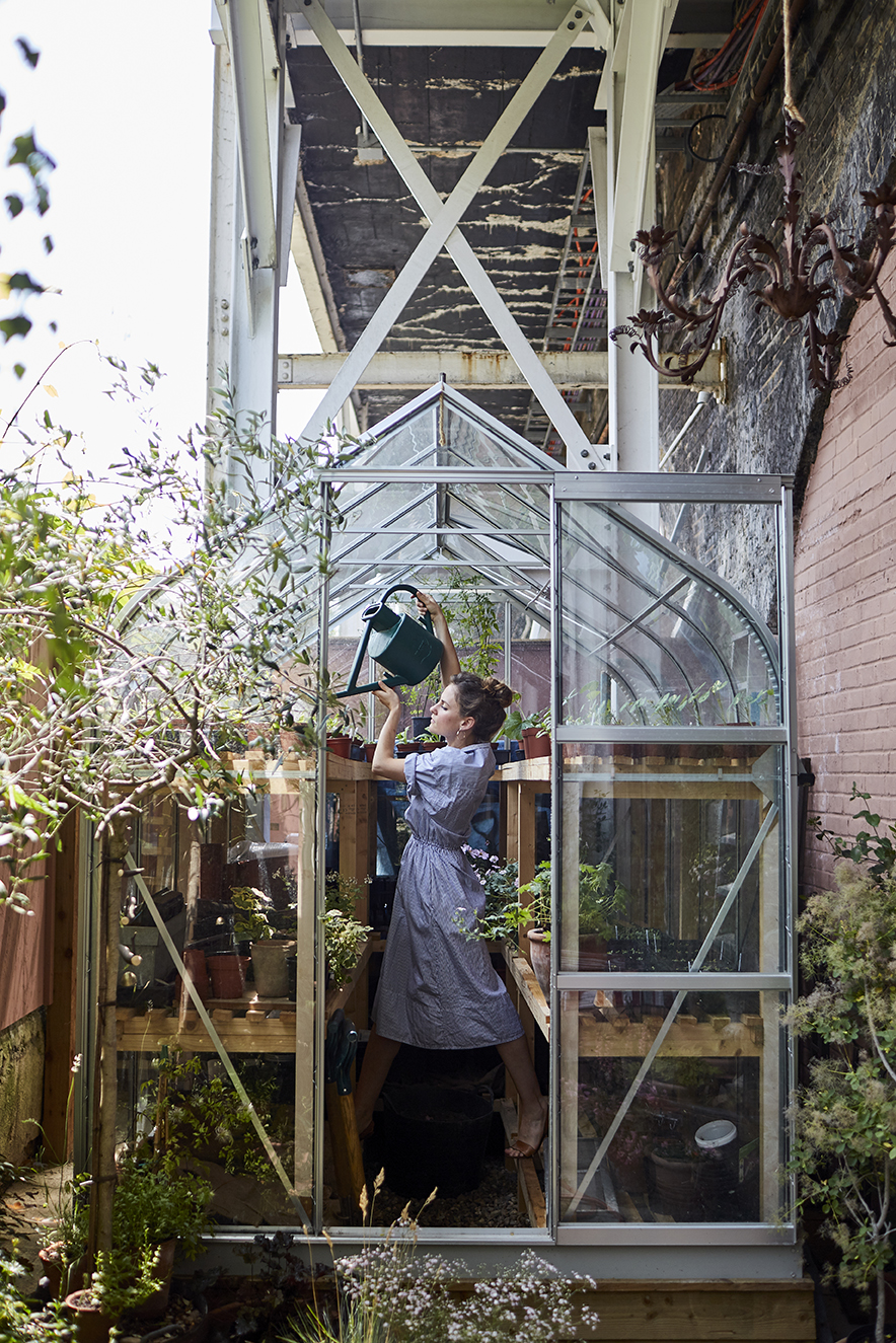 The greenhouse in the studio garden | Photographed by  Kristin Perers