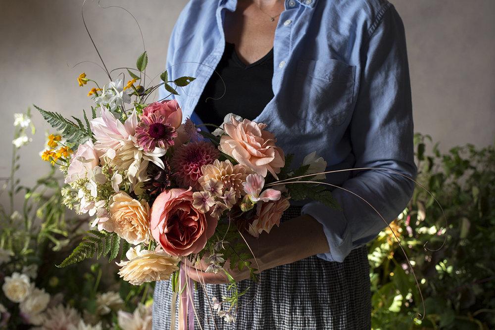 Rhona's bouquet - garden roses, dahlias, hydrangea, phlox, marigolds and ferns.