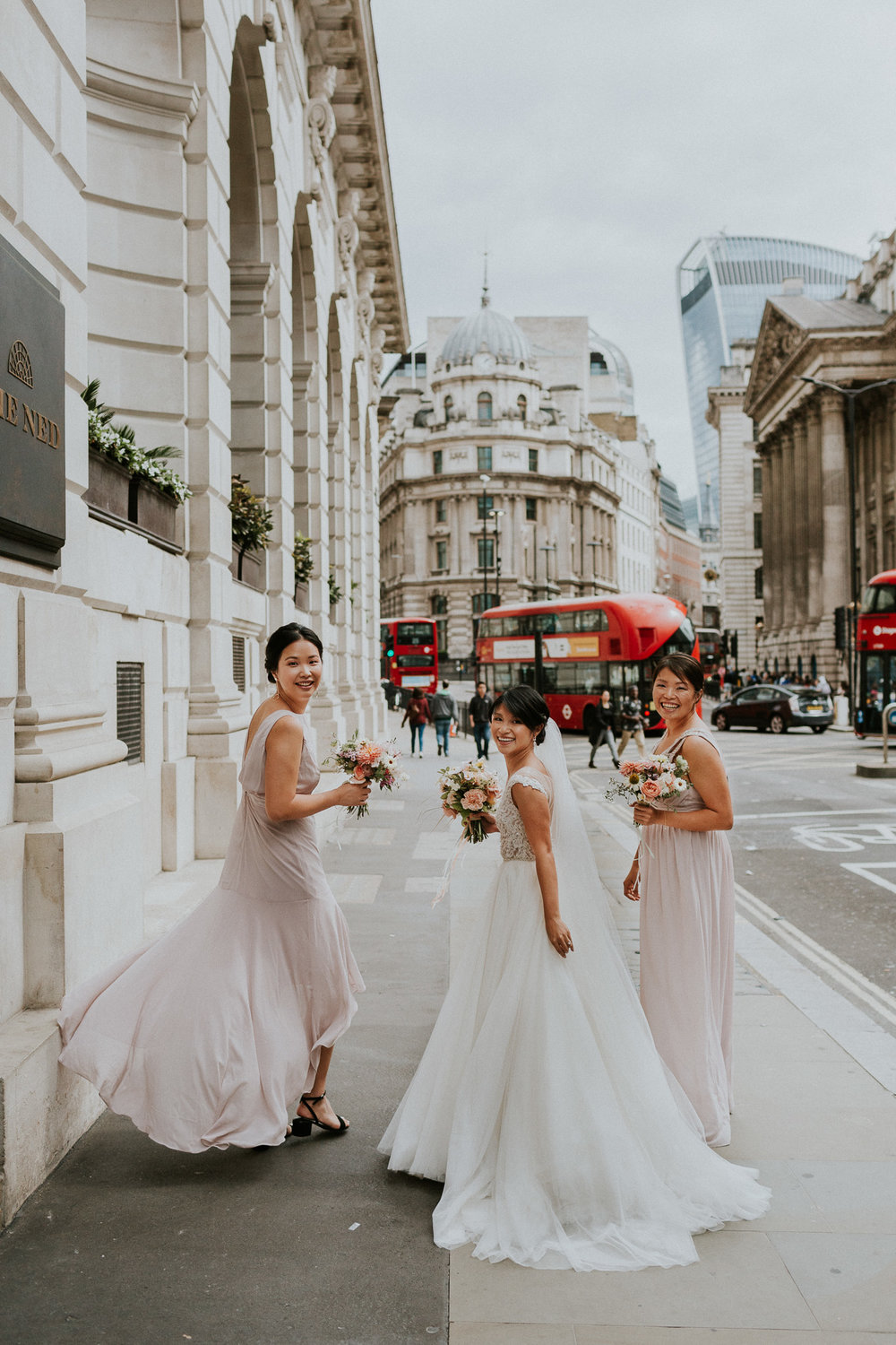 Kat leaving  The Ned  with her bridesmaids. Photographed by  Maja Tsolo