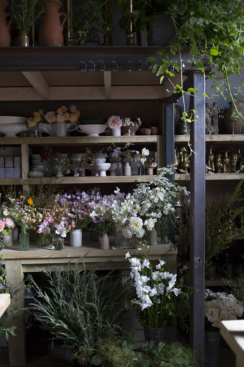 Aesme Flower Studio filled with summer flowers for a group workshop