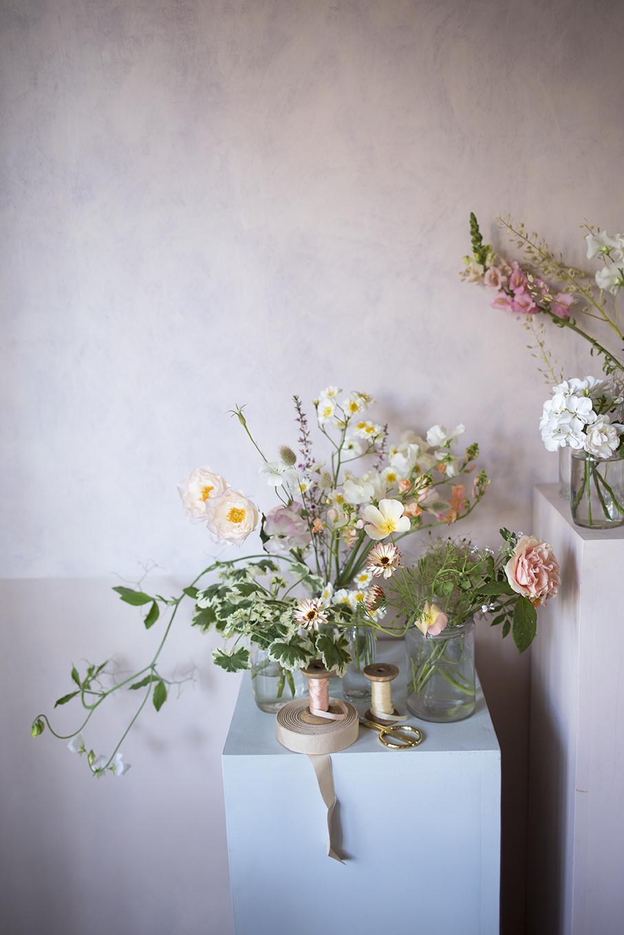 Flowers ready for a bouquet demo at Aesme Flower Studio in Shepherd's Bush