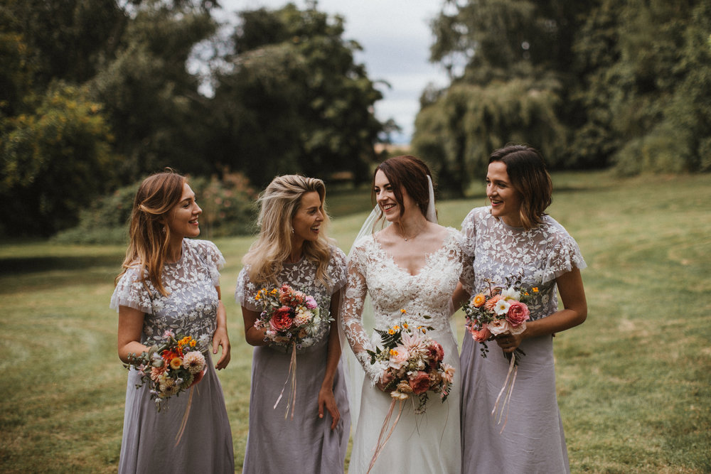 Rhona and her bridesmaids. Photographed by  James Frost