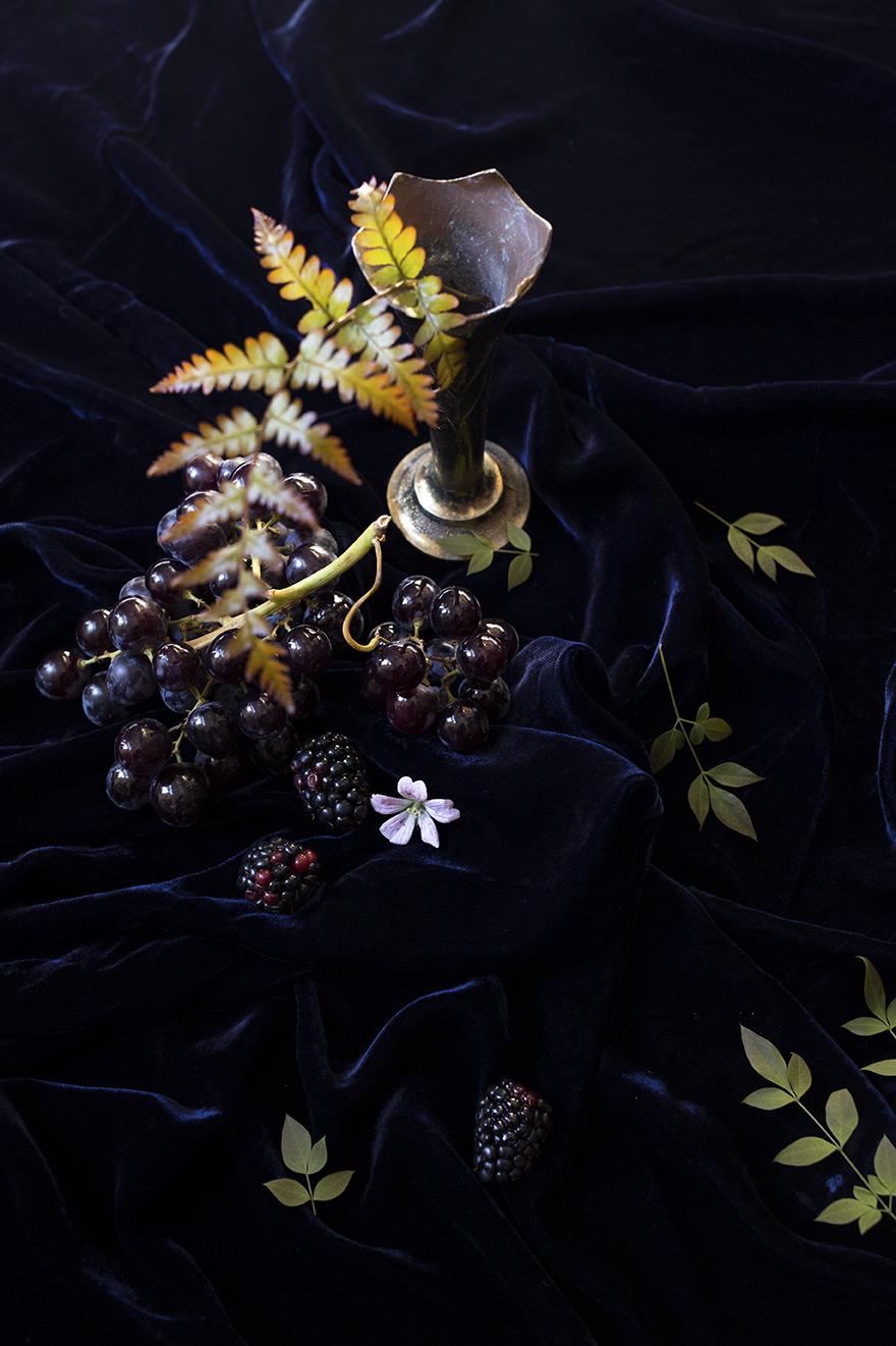Ferns, blackberries and antique vessels at Aesme Flower Studio