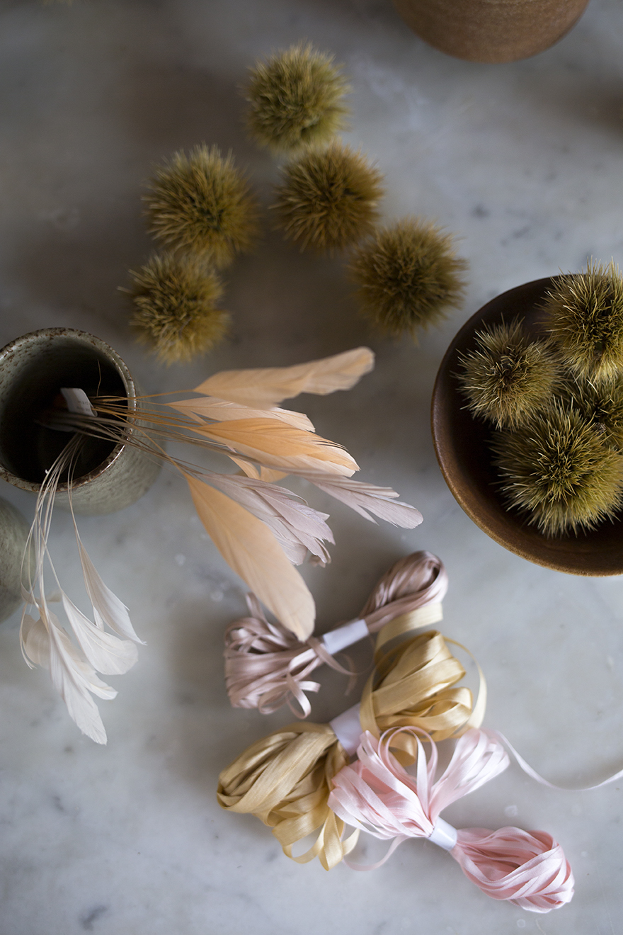 Feathers and ribbons for wedding buttonholes at Aesme Flower Studio