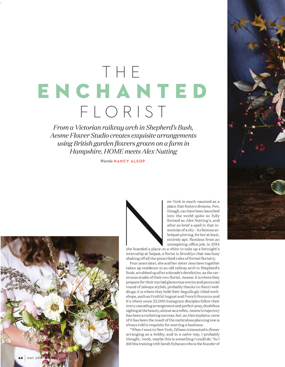 Aesme Flower Studio featured in Absolutely Home magazine 2018