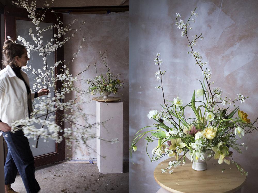 Arranging blossom branches | Aesme Flower Studio London