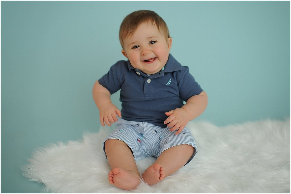 Baby on White Rug in Columbus Indiana Photo Studio