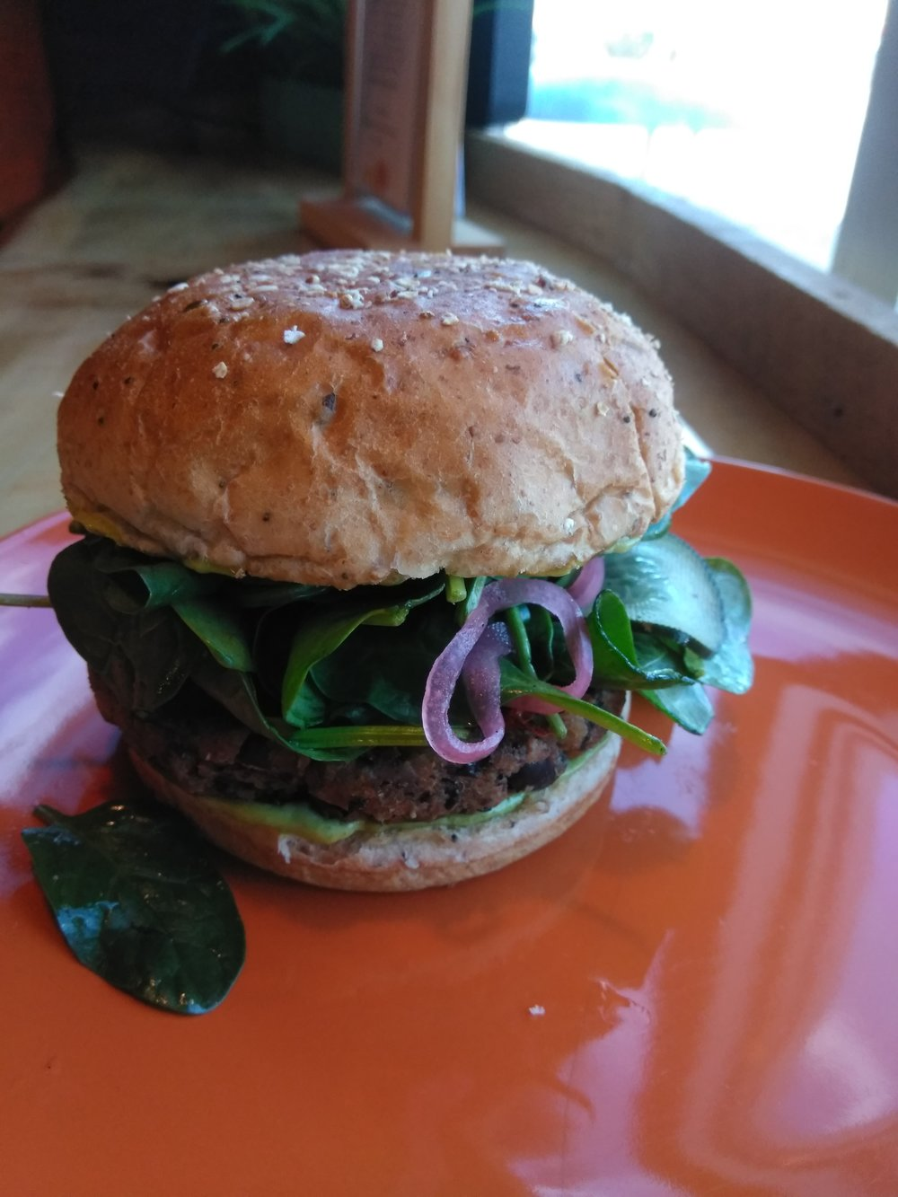 Our newest menu item: Black Bean & Veggie Burger