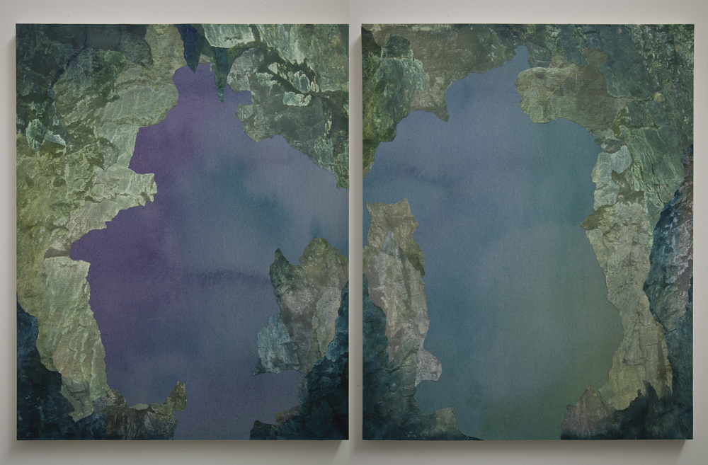"Cavern Diptych,  archival pigment prints, collage on panel, 54"" x 43"" each, 2012."