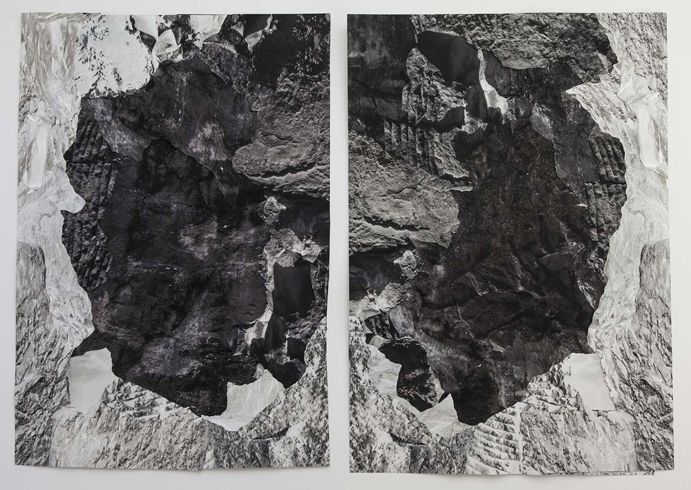 "Cave of the heart   Pigment prints, collage, 67' x 46"" each, 2014."