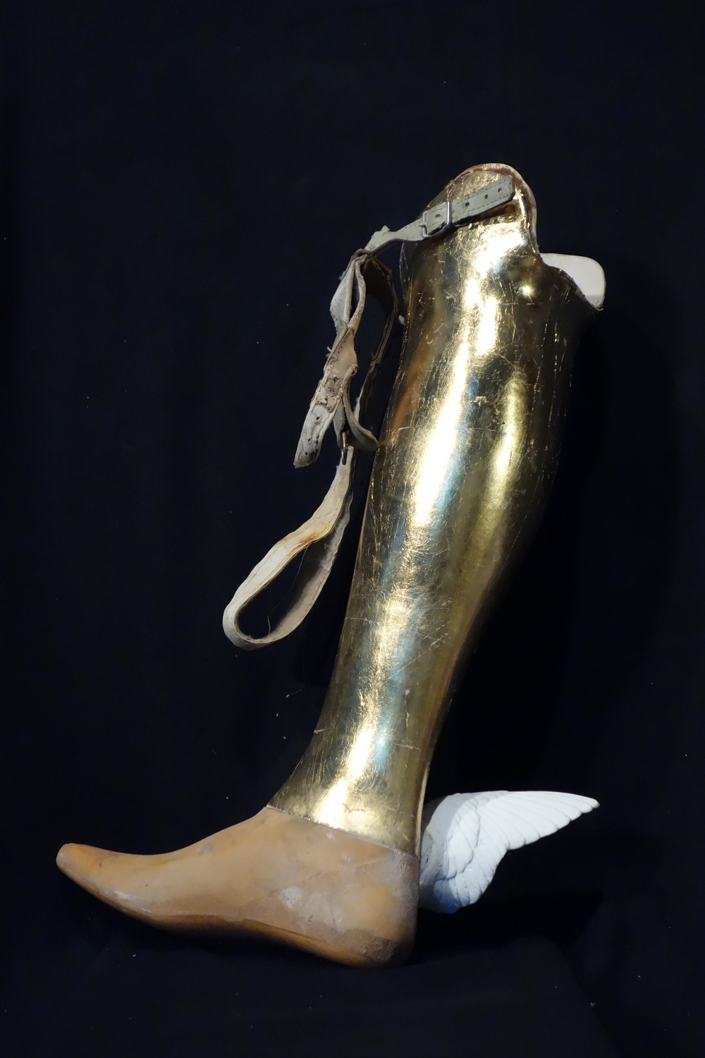 Golden Calf, 2014, gilded prosthetic leg and plaster, 22x15x6 inches