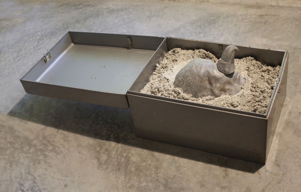 RETURN TO SENDER I, 2015, cast cultured granite, cement and metal box