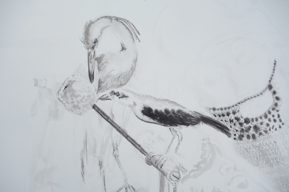 Untitled (Birds and Knit Beard) detail