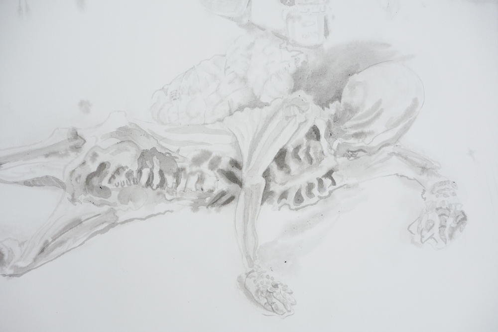 Untitled (Reclining Skeleton) detail
