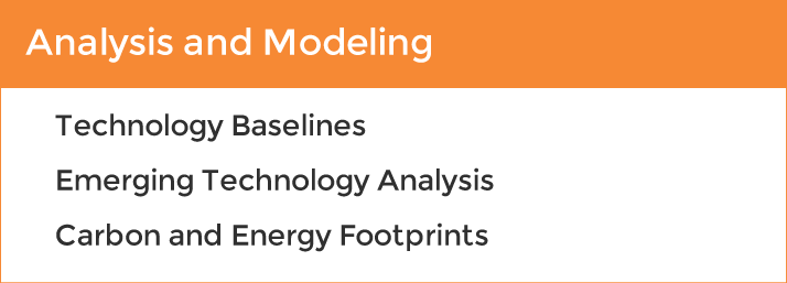 Analysis and modeling services at Energetics: Technology baselines, emerging technology analysis, carbon and energy footprints.