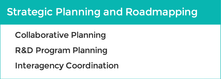 Strategic planning & roadmapping services: collaborative planning, R&D program planning, interagency coordination.