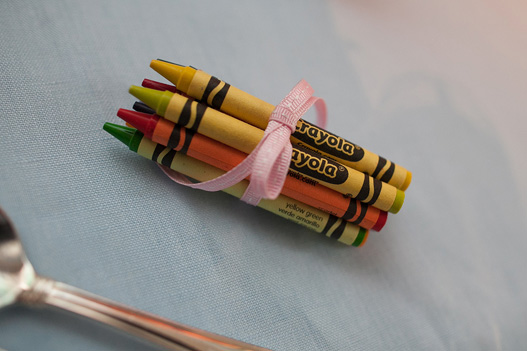 bundle-crayons-kids-table-wrapped-pink-ribbon