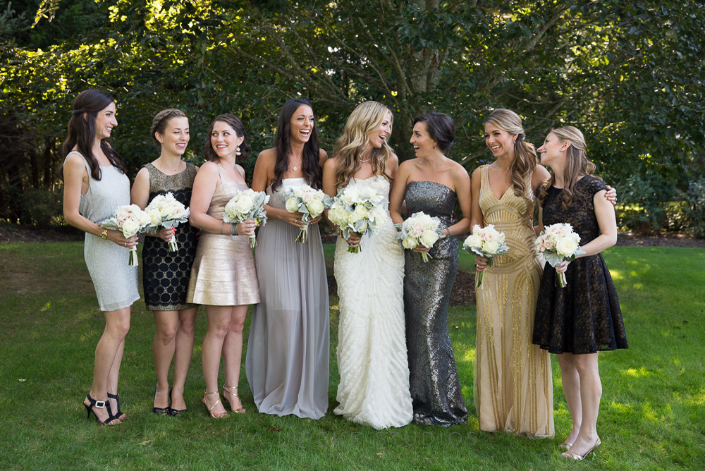 metallic-bridesmaid-dresses-long-mismatched