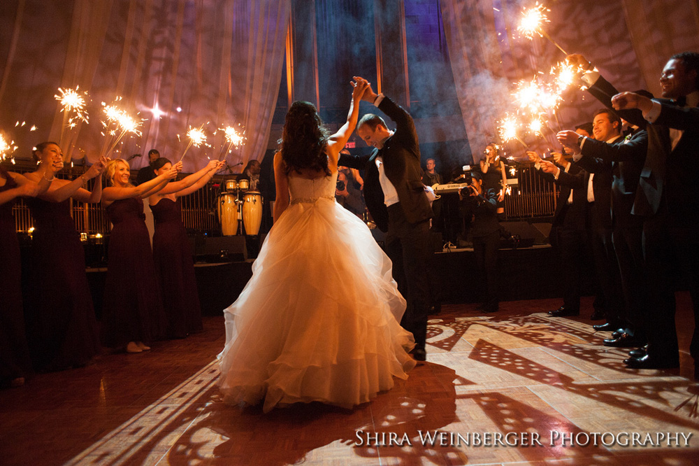 bride-groom-dance-sparklers-monogram-gotham-hall