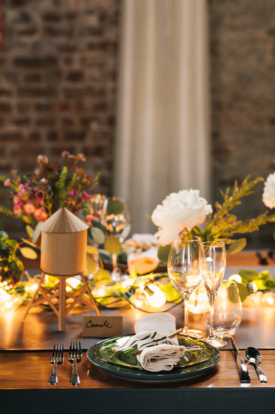 unique-brooklyn-theme-wedding-inspiration-string-lights-rustic-the-green-building