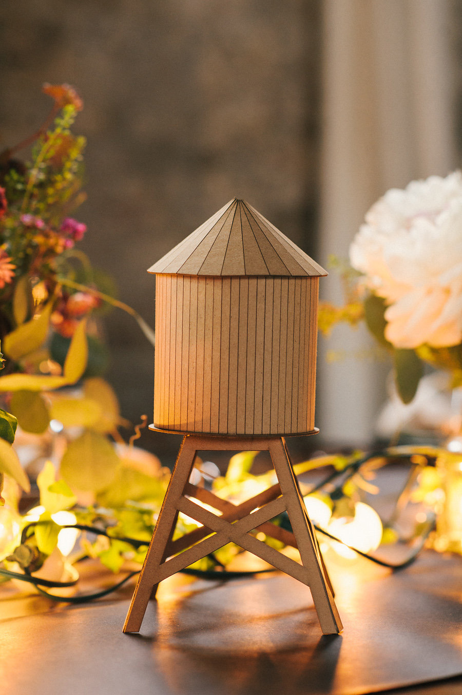 brooklyn-water-tower-cardboard-unique-wedding-inspiration-string-lights-rustic