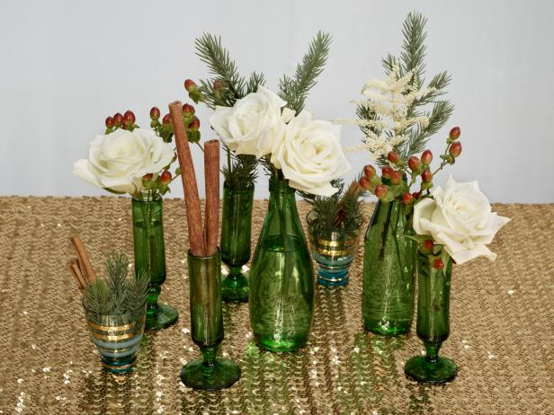 christmas-holiday-centerpiece-ideas-recycled-green-white-cinnamon-gold