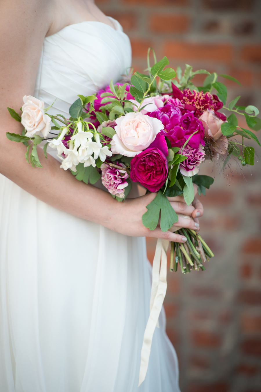 bridal-bouquet-pink-magenta-peonies-wild-natural-greenery