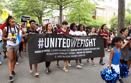 "Under the ""United We Fight"" banner, a broad coalition of community groups and organizers in St. Louis marched together in support of the movement for Black lives. (Photo taken by Carlton Mackey)"