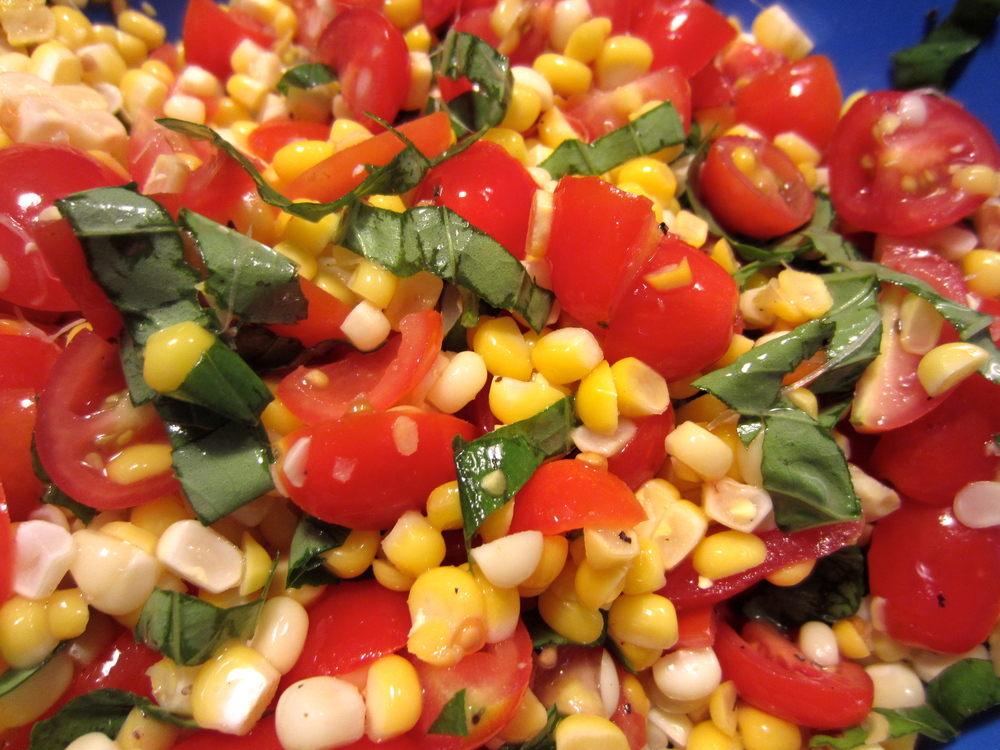 Corn, basil and tomato