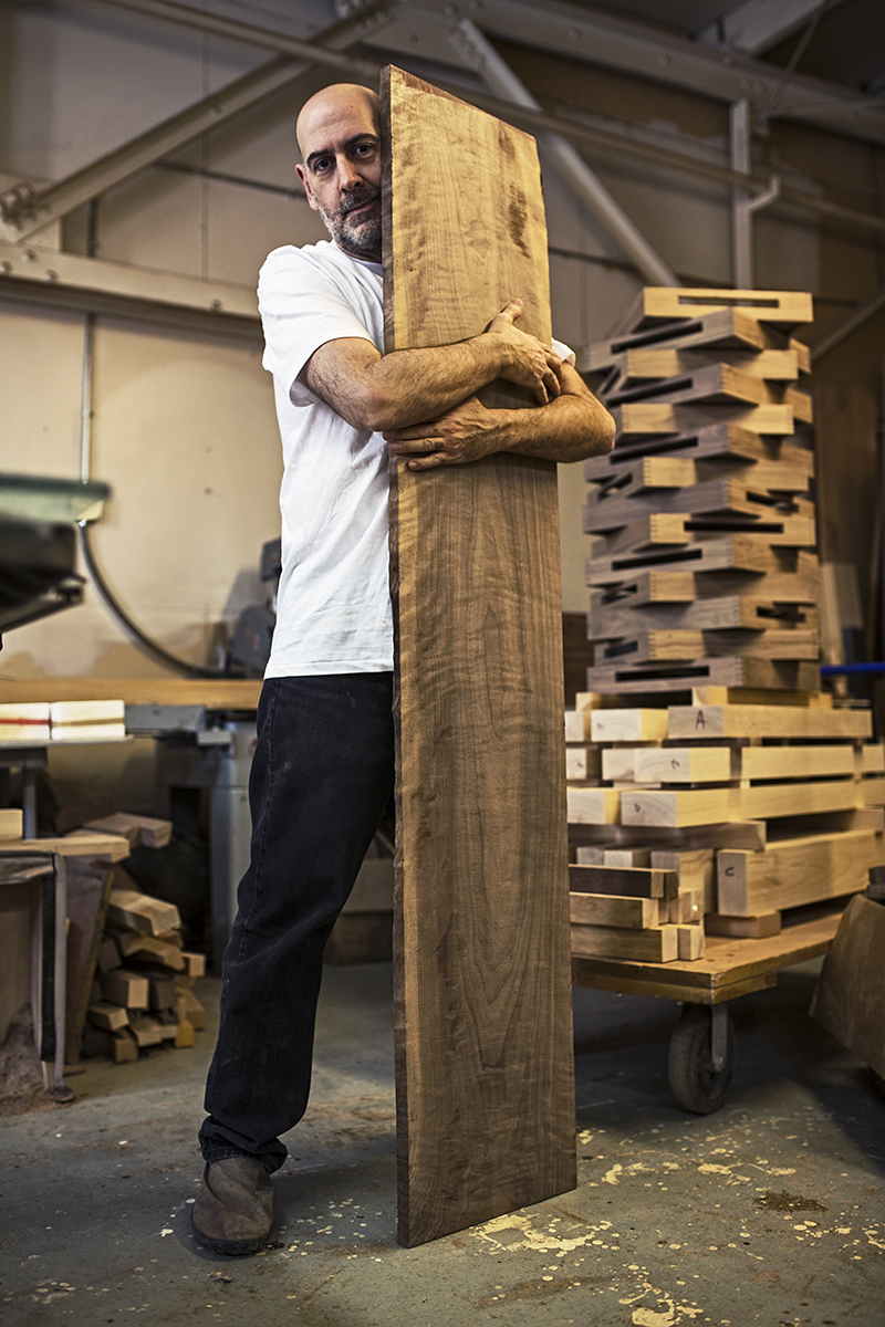 Jose Regueiro showing his love for wood. Portrait by Christian O'Grady 2014