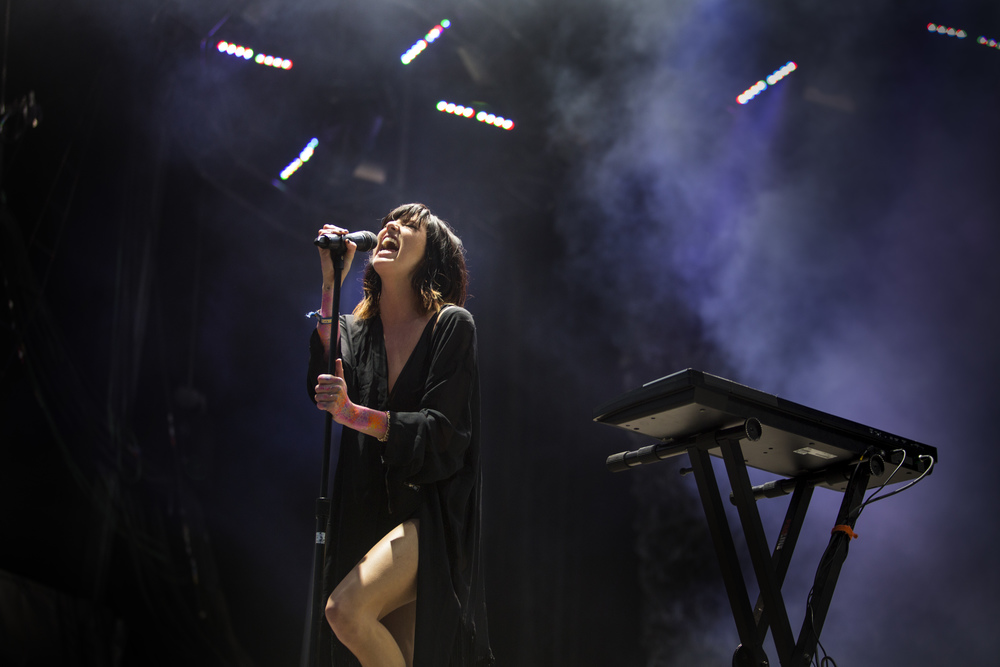 "Phantogram performs ""When I'm Small"" on the Sherwood Court stage."