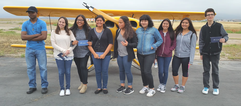 MONTE VISTA STUDENTSAT YOUNG EAGLES MAY 14, 2016, BROWN FIELD EAA   Left to right: Matthew Cook, Karla Corona Romero, Diana Gonzalez Lopez, Teresa Rocha, Yareczi Suarez-Varela, Araceli Suarez-Padilla, Chloe Manguiat, Jozelle Baltazar, Antonio Magallon Medina.  ( Click on image for photo album )