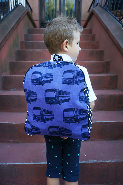 backpack on stairs