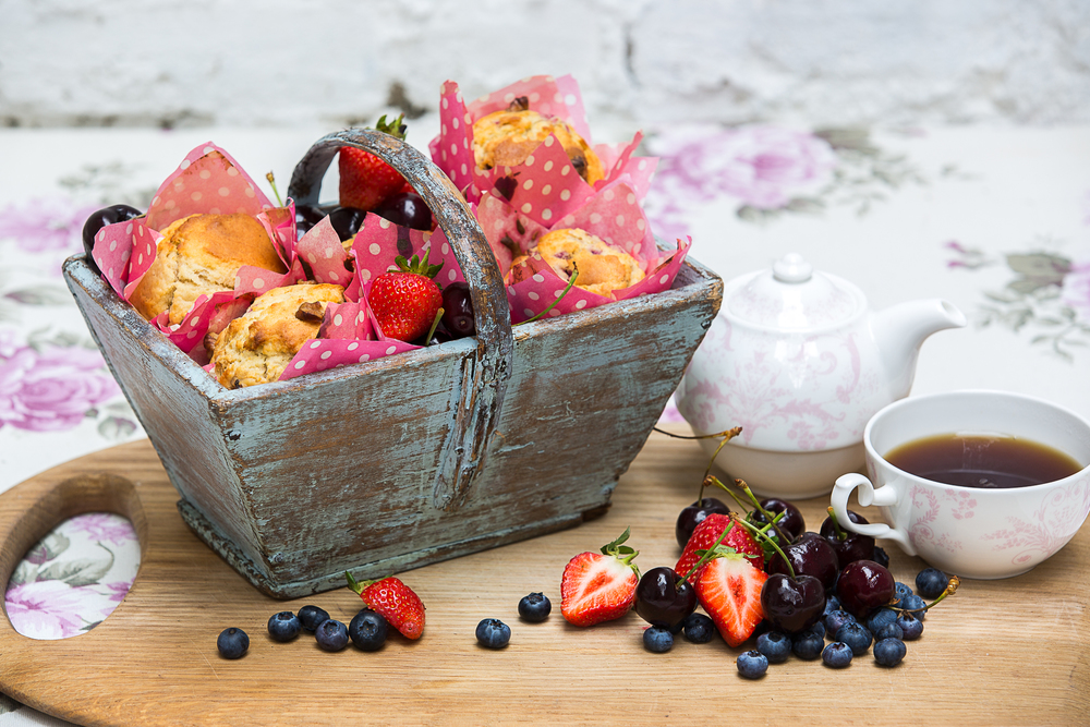 breakfast muffins with fruit and teapot.jpg