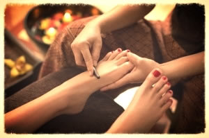 Thai Foot Reflexology being applied to top of foot