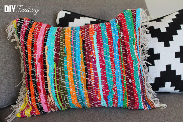 rag rug pillow