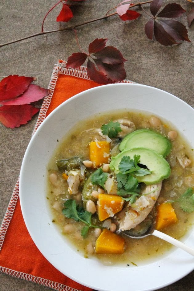 White Bean Chili Verde with Pumpkin