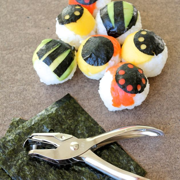Sushi handballs made fun with hole punches // Poppy Haus