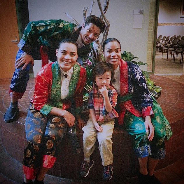 "My son with the cast from Discovery Theatre's ""Tigers, Dragons, and Other Wise 'Tails'"" in May 2015."