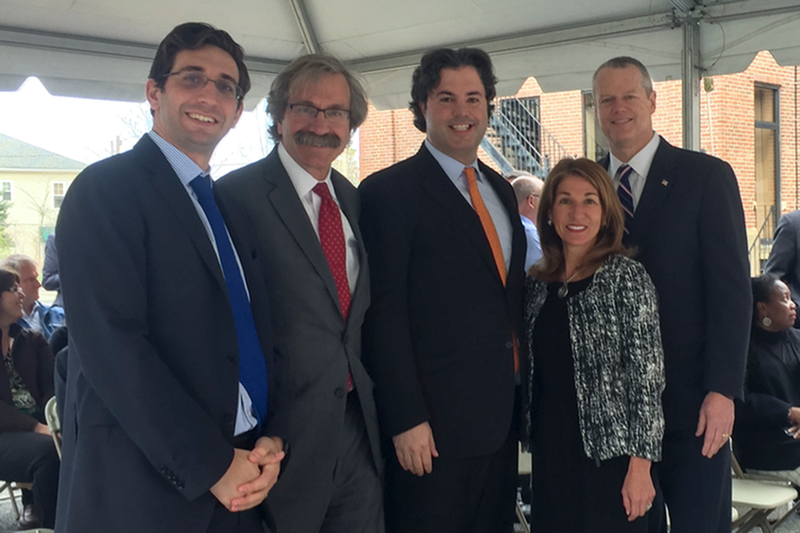 WinnDevelopment Vice President  Meade Curtis , WinnDevelopment President and Managing Partner  Larry Curtis , WinnCompanies CEO  Gilbert Winn , Lieutenant Governor of Massachusetts  Karyn Polito , and Governor of Massachusetts  Charlie Baker